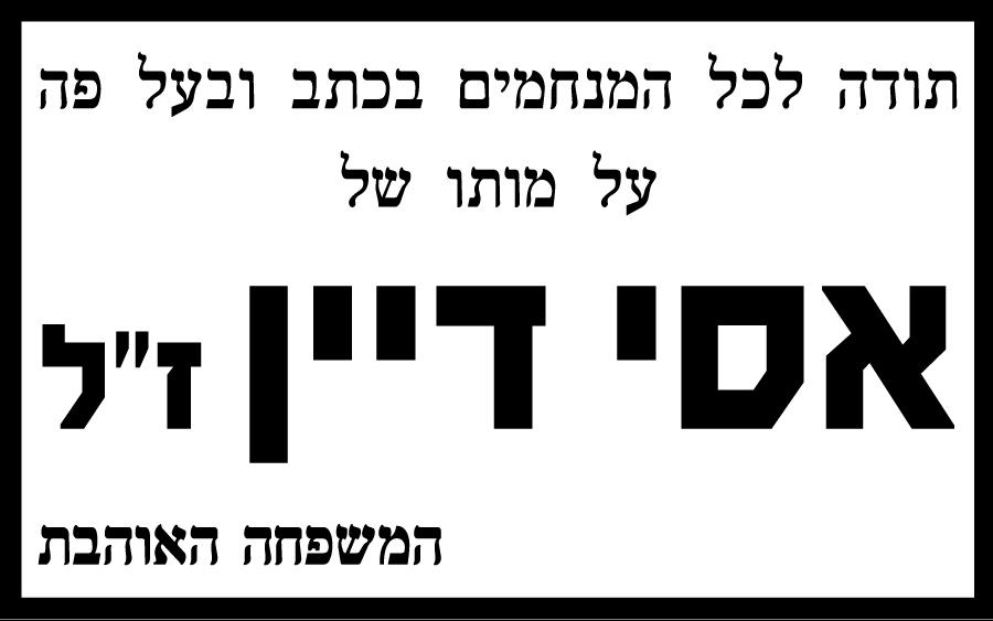 אסי דיין 4 אינטש הארץ 13 מאי